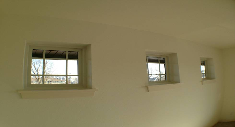 Detail of window in corner suites.