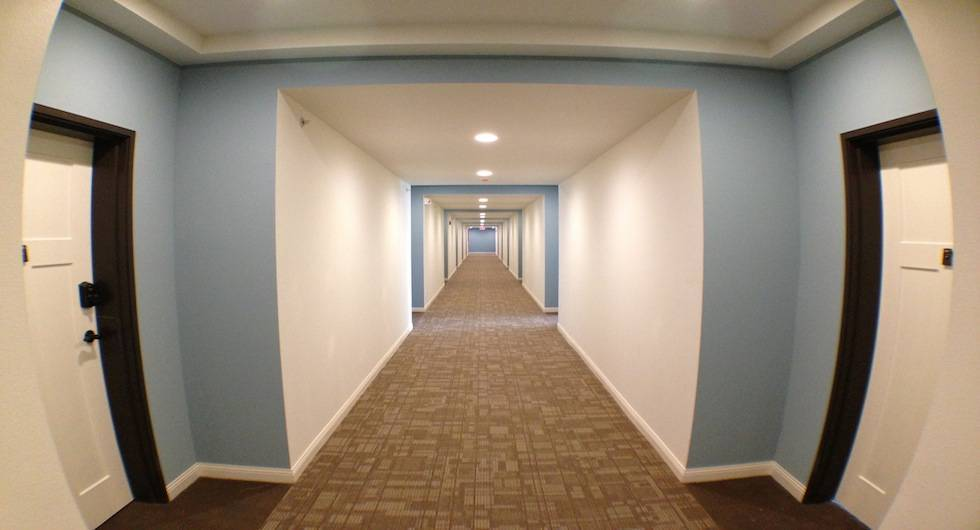 Beautiful, brightly lit and quiet hallways.